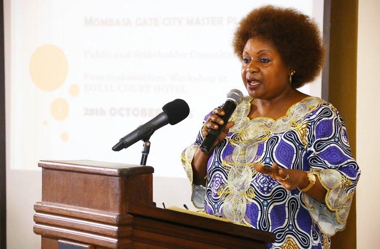 Deputy Governor of Mombasa County Hon. Hazel Katana addresses stakeholders at the 1st stakeholders forum
